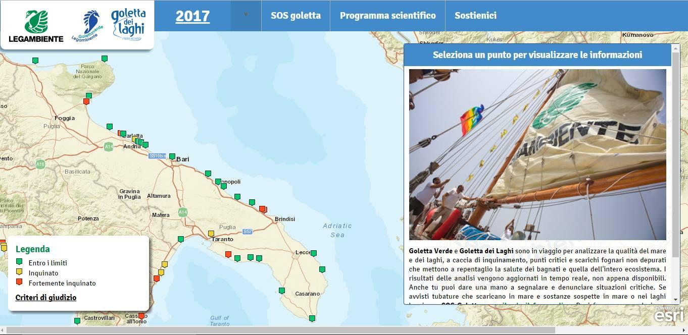 Goletta Verde 2017 Mappa dei risultati in Puglia